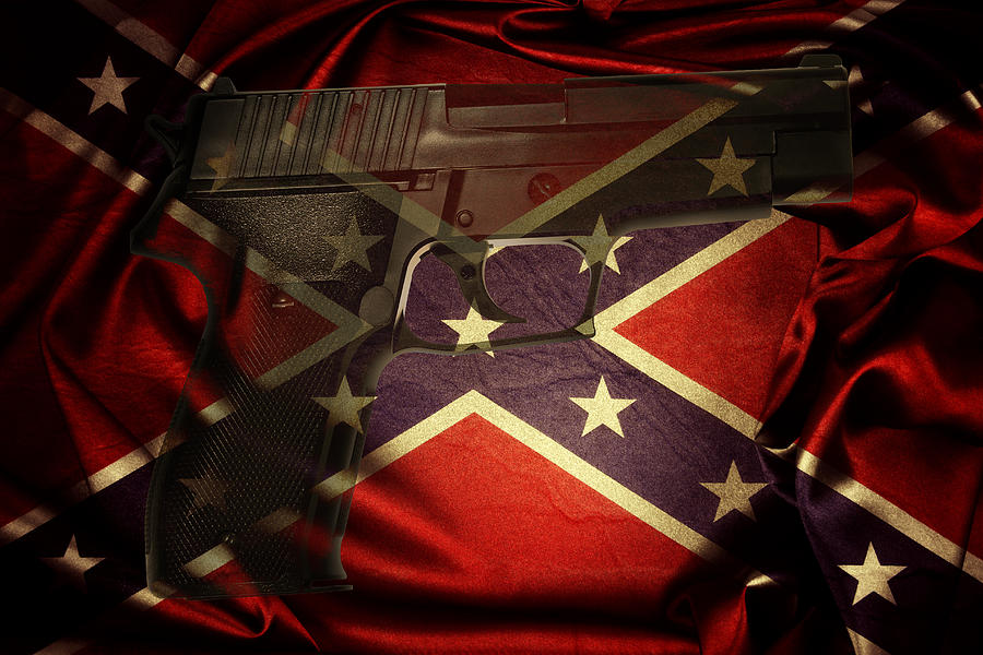 Armed Photograph - Gun And Confederate Flag by Les Cunliffe