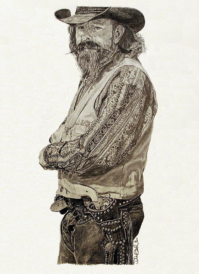 Cowboy Drawing - Gun Belt by Theresa Higby