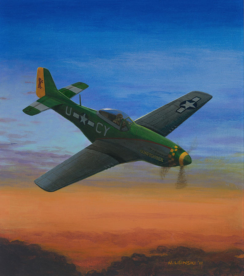 Wwii Aircraft Painting - Gunfighter by Norb Lisinski