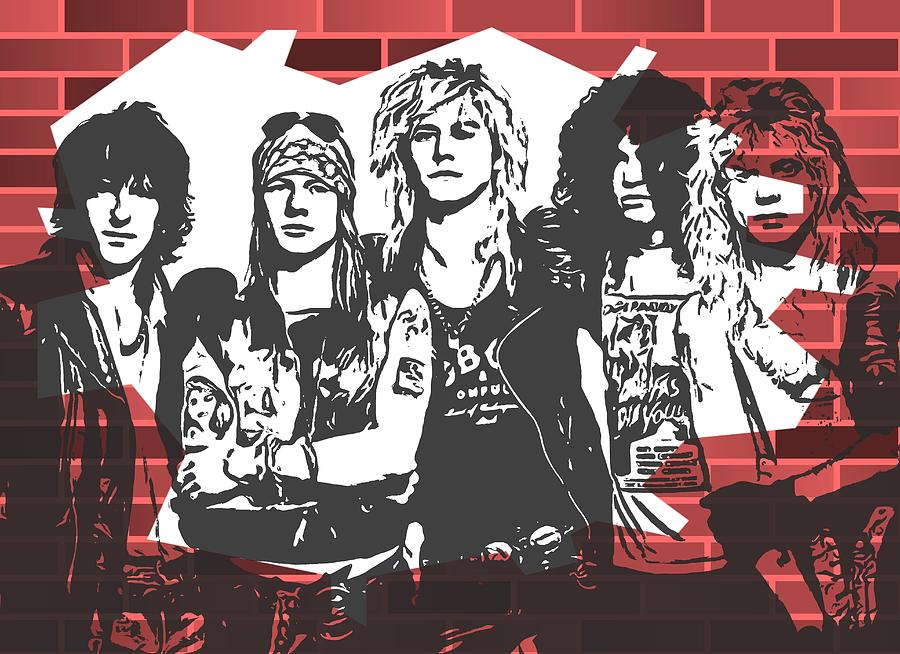 Slash On Guitar Mixed Media - Guns N Roses Graffiti Tribute by Dan Sproul