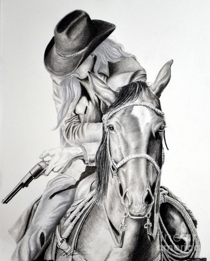 Cowboy Drawing - Gunslinger by John Huntsman