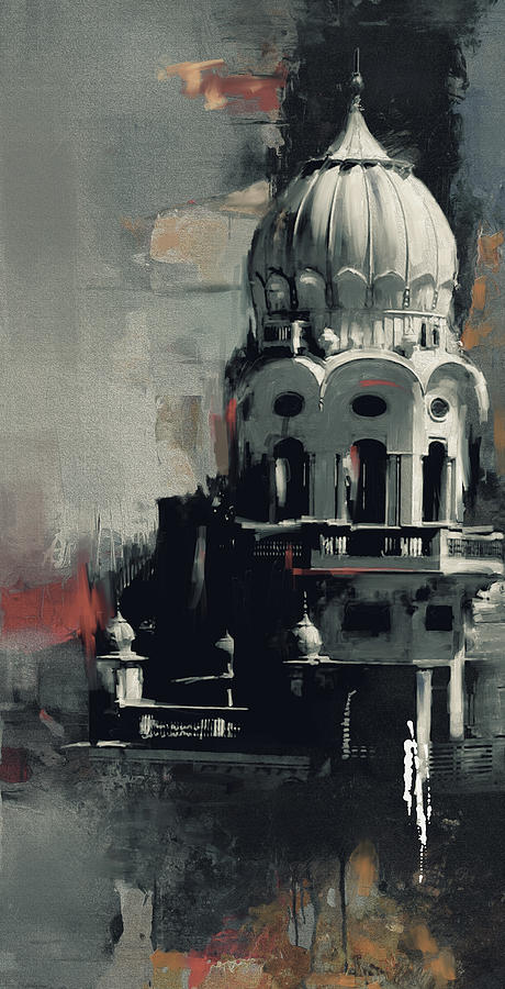 City Painting - Gurdwara 190 Iv by Mawra Tahreem