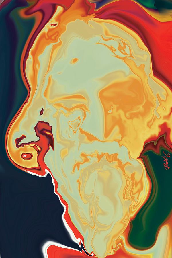 Red Digital Art - Gurudev by Rabi Khan