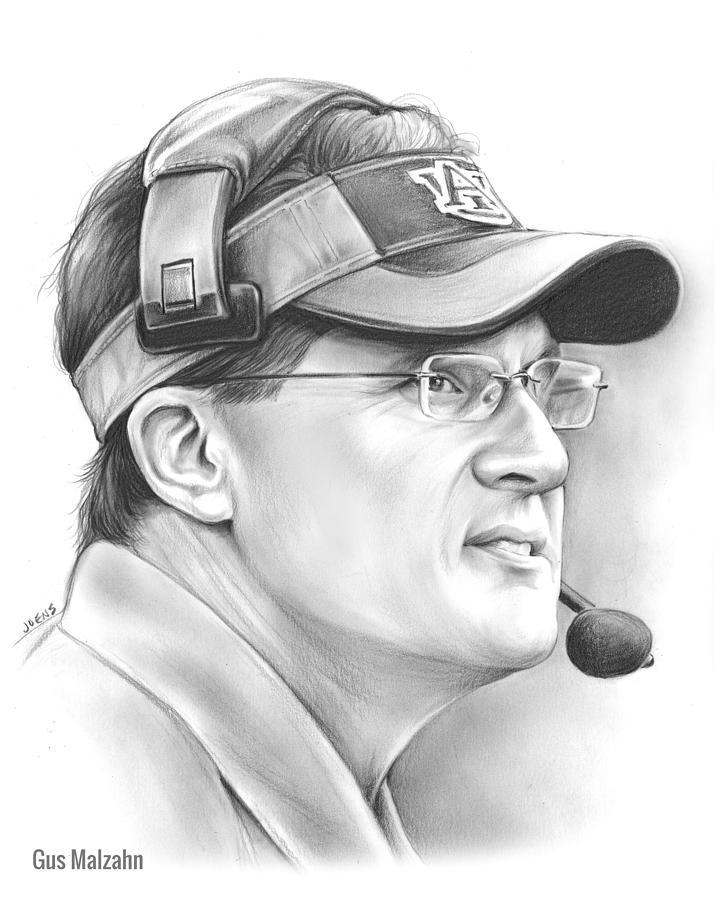 College Drawing - Gus Malzahn by Greg Joens
