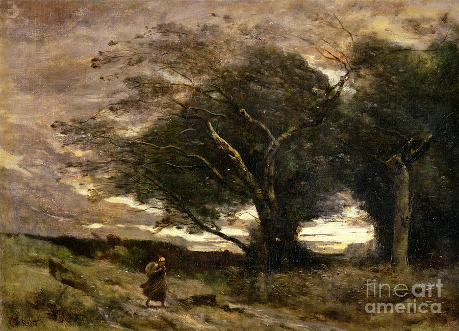 Gust Painting - Gust Of Wind by Jean Baptiste Camille Corot
