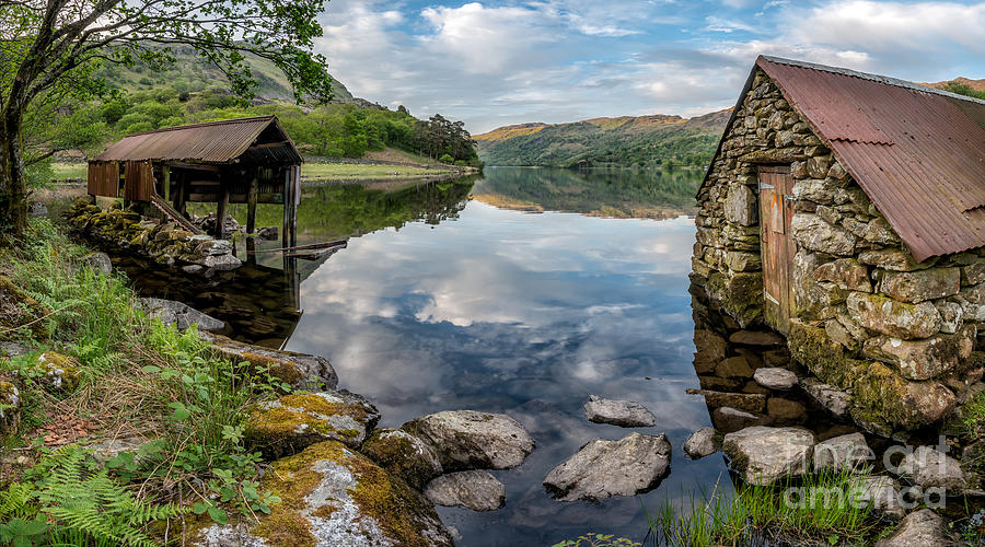 Lake Photograph - Gwynant Lake Boat House by Adrian Evans