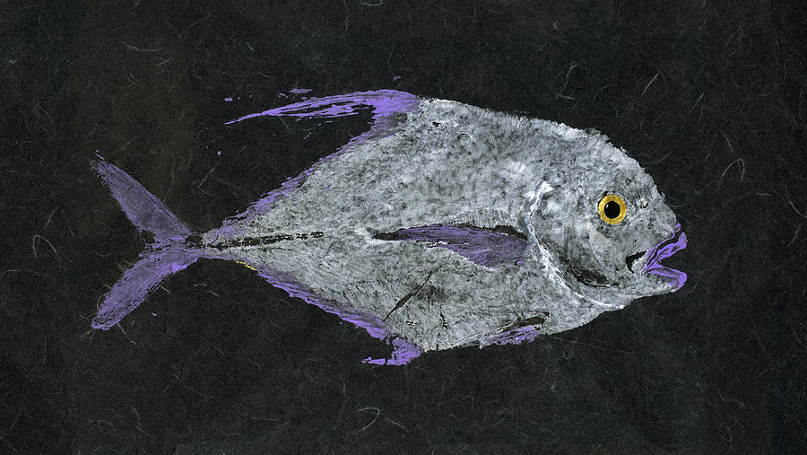 Gyotaku Painting - Gyotaku African Pompano by Captain Warren Sellers