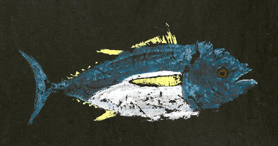 Gyotaku Painting - Gyotaku Yellowfin Tuna by Captain Warren Sellers