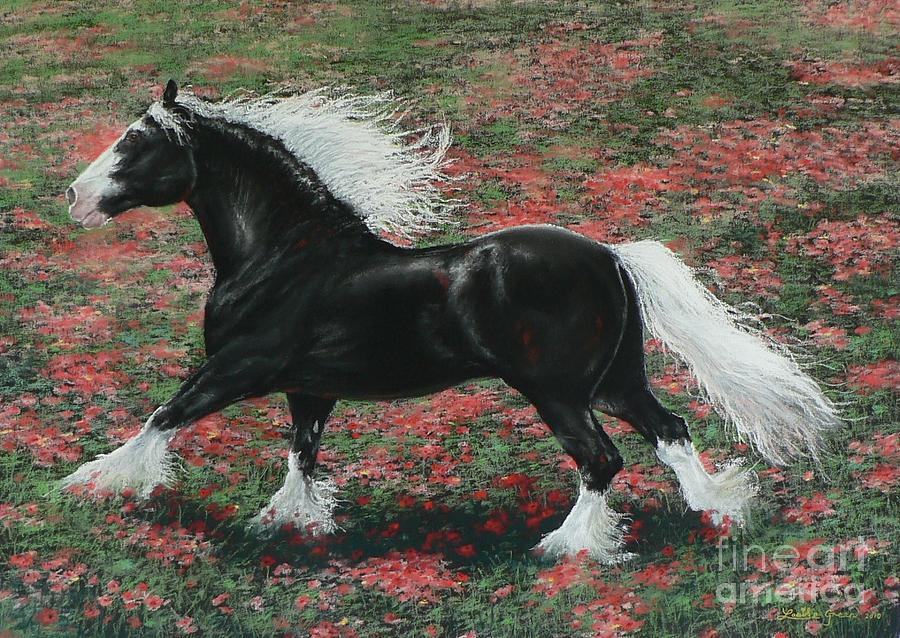 Gypsy Cob Painting - Gypsy Fire by Louise Green