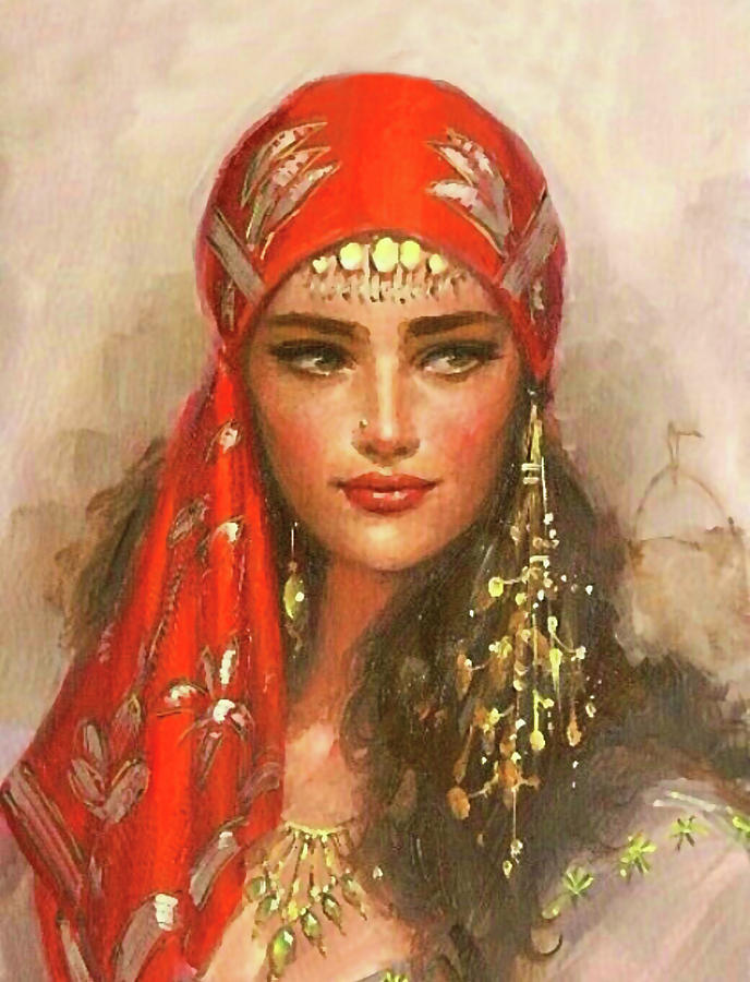 Gypsy Painting - Gypsy Girl Portrait by Long Shot