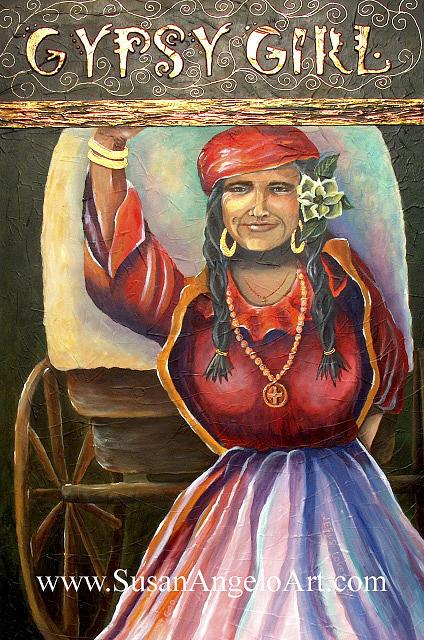 Acrylic Painting - Gypsy Girl by Susan-Angelo  DeBay
