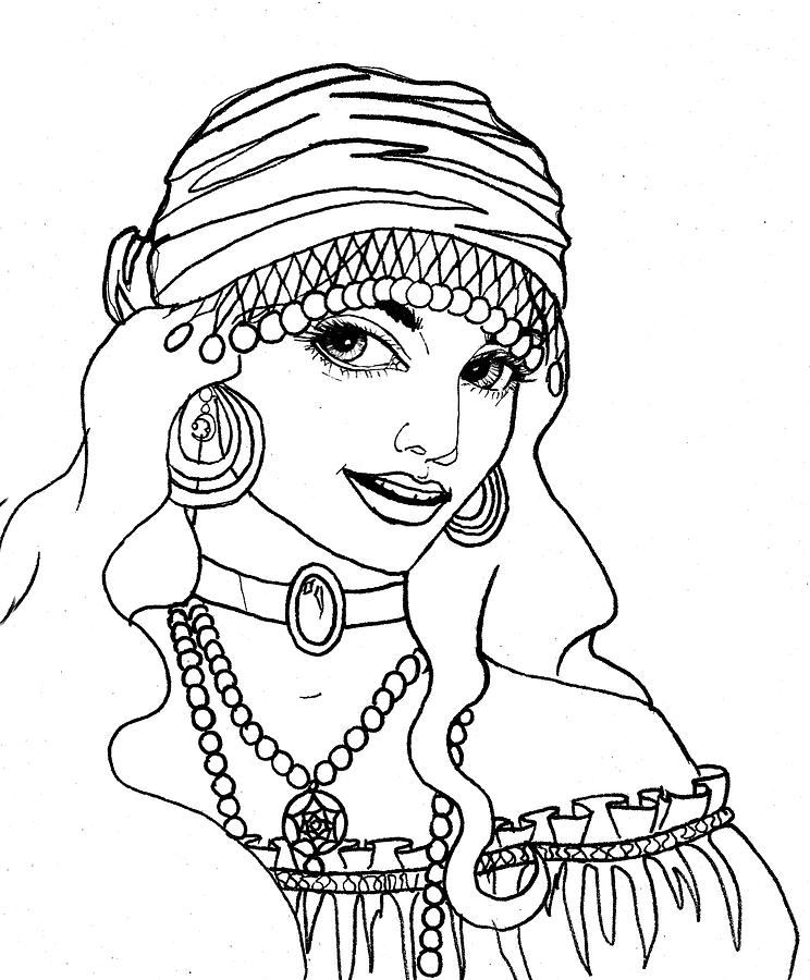 Pen And Ink Drawing - Gypsy Sketch by Scarlett Royal