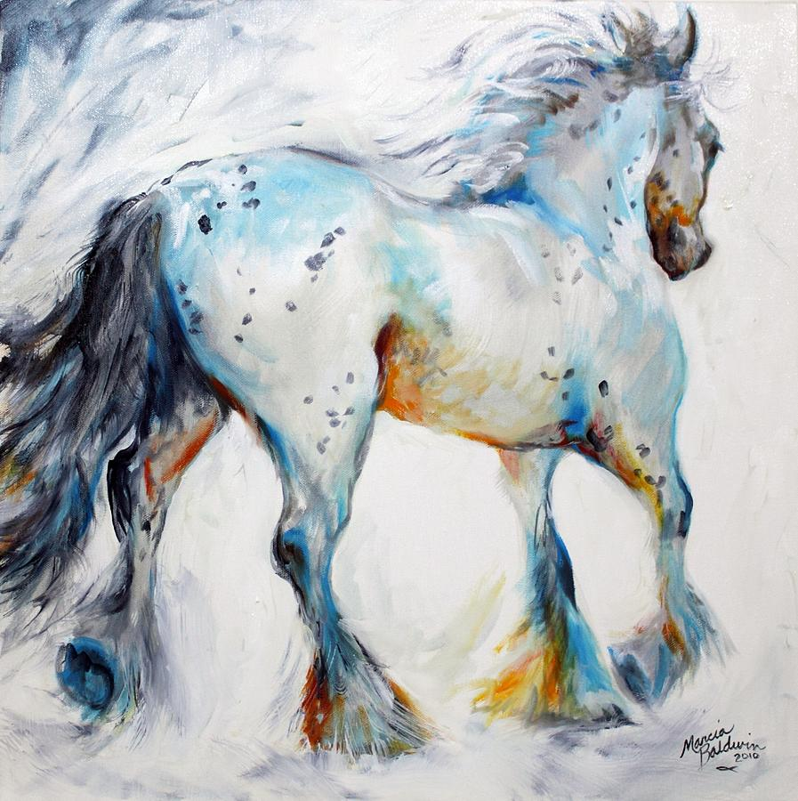 Oil Painting - Gypsy Vanner Motion Paint Sketch by Marcia Baldwin