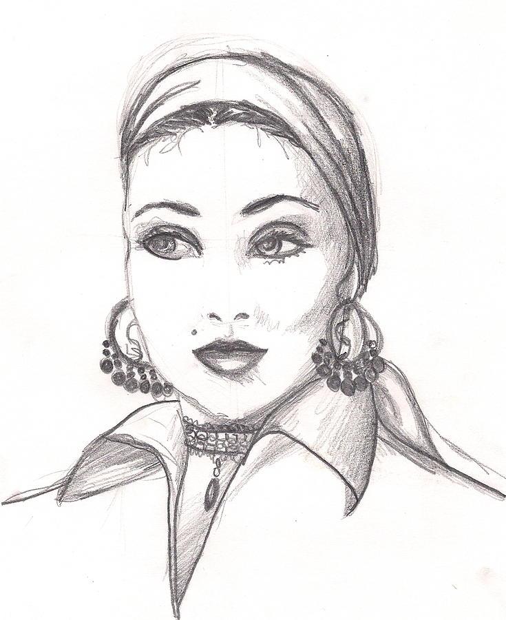 Graphite Drawing - Gypsy Woman by Scarlett Royal