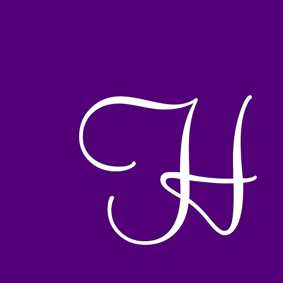 H Digital Art - H In White Simple Script by Custom Home Fashions