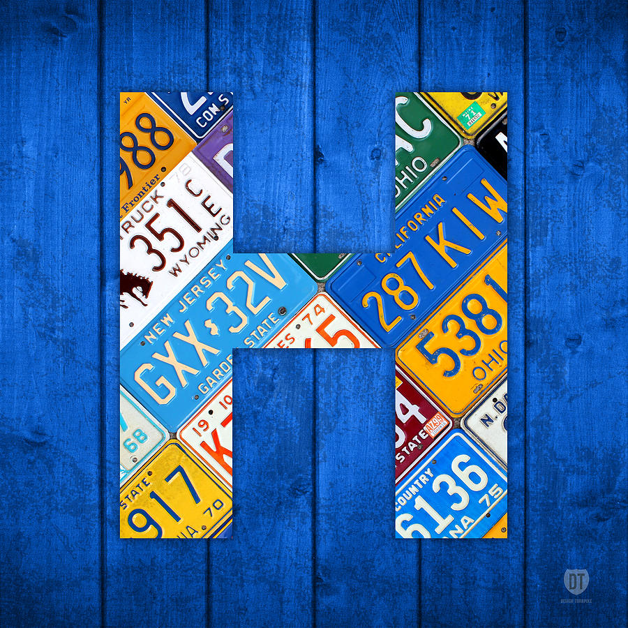 H Mixed Media - H License Plate Letter Art Blue Background by Design Turnpike