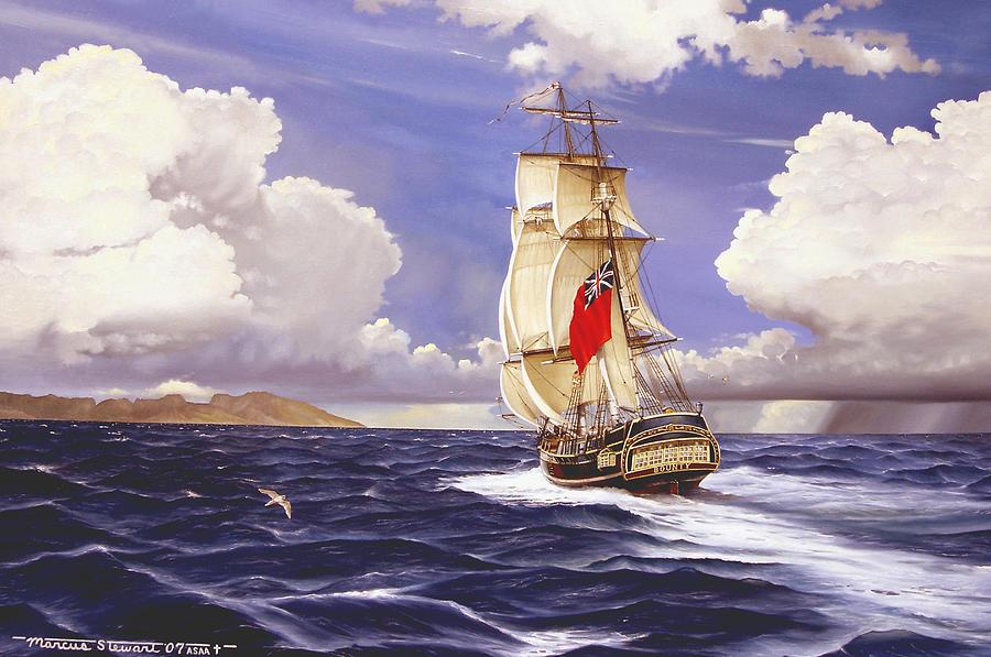 Marine Painting - H. M. S. Bounty At Tahiti by Marc Stewart