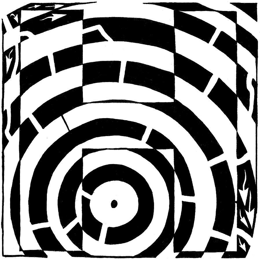 Letter H Drawing - H Maze by Yonatan Frimer Maze Artist