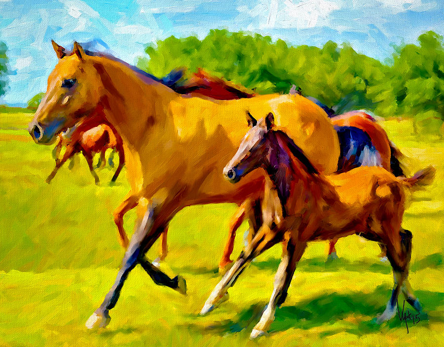 Brown Horse Painting Art Horse Art Equestrian Decor Horse Wall Art ...