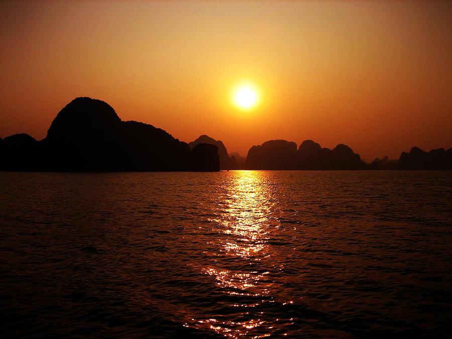Orange Photograph - Ha Long Bay Sunset by Oliver Johnston