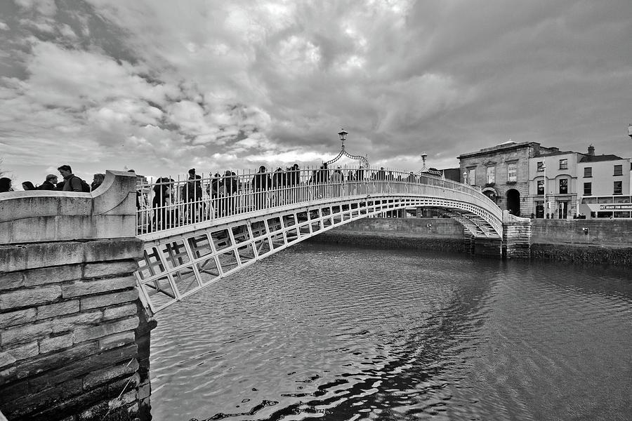 Ha Penny Bridge Photograph - Ha Penny Bridge In Black And White by Marisa Geraghty Photography