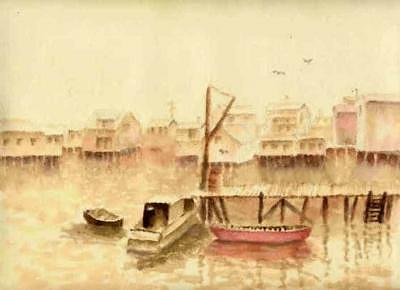 Boats Painting - Habour by Louise Roehm