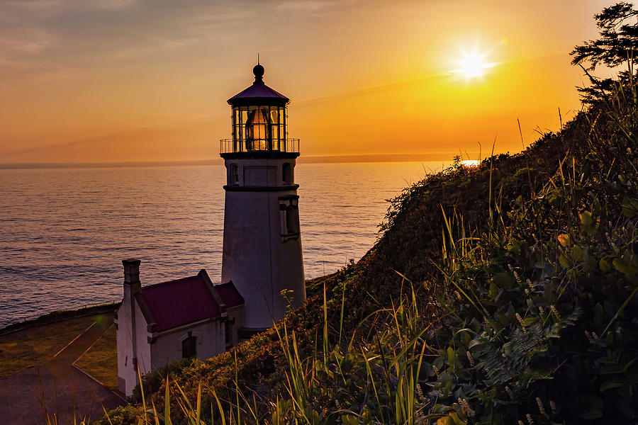 Haceta Head Lighthouse at Sunset by Rick Pisio