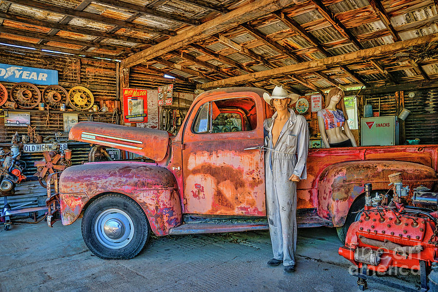 hackberry garage on historic route 66 photograph by