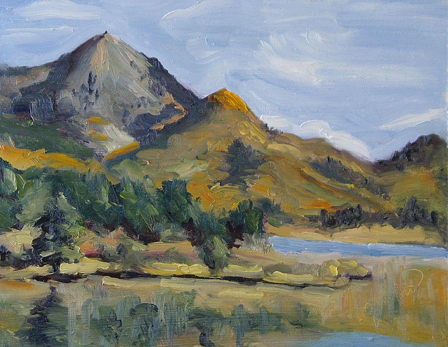 Steamboat Lake State Park Painting - Hahns Peak From Rainbow Point Steamboat Lake State Park Colorado by Zanobia Shalks