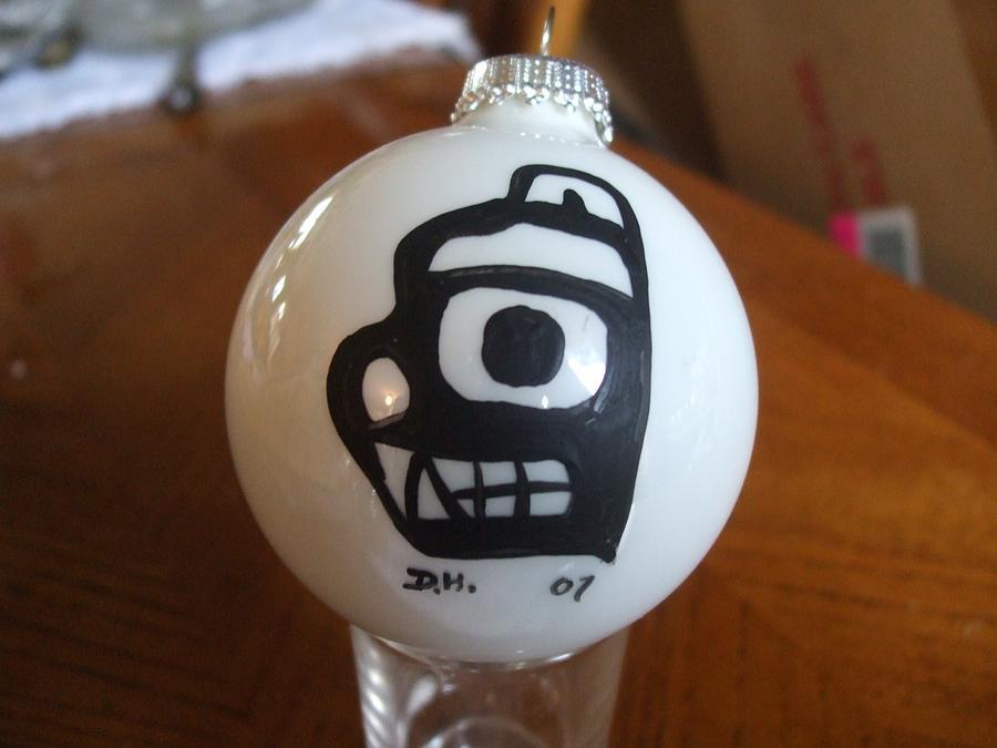 Christmas Glass Art - Haida Original Christmas Glass Ball by David Hunter