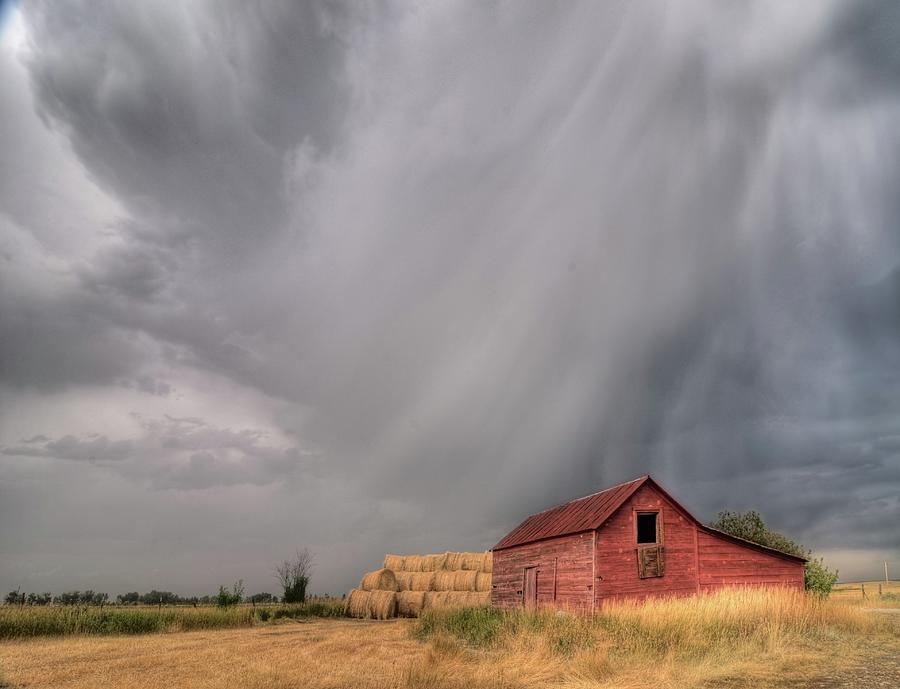 Hail Photograph - Hail Shaft And Montana Barn by Dave Rennie
