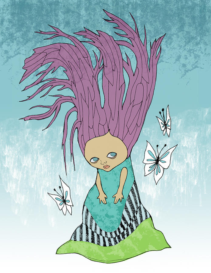 Girl Painting - Hair Is A Tree by Lindsey Cormier