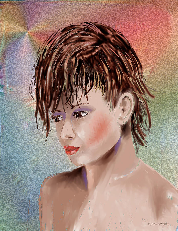 Girl Digital Art - Hairstyle Of Colors by Arline Wagner