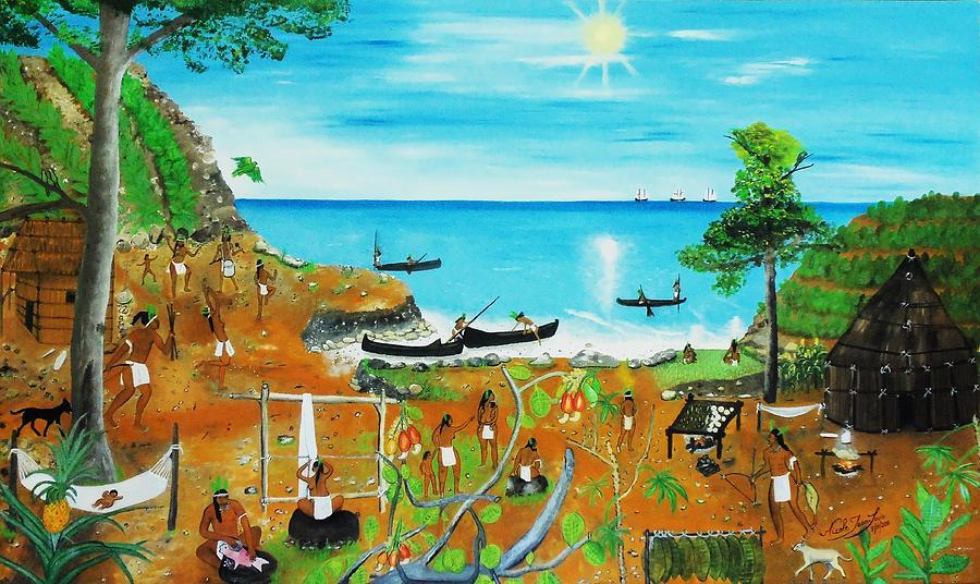 Hispaniola Painting - Haiti 1492 Before Christopher Columbus by Nicole Jean-Louis