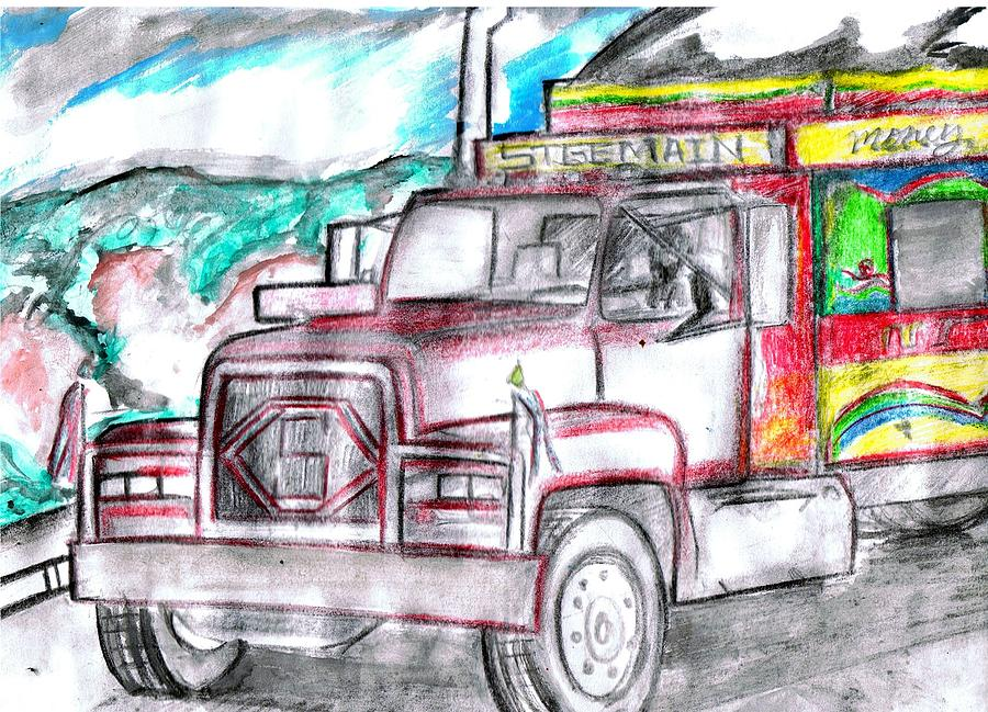 Trucks Drawing - Haitian Travel  by HPrince De Artist