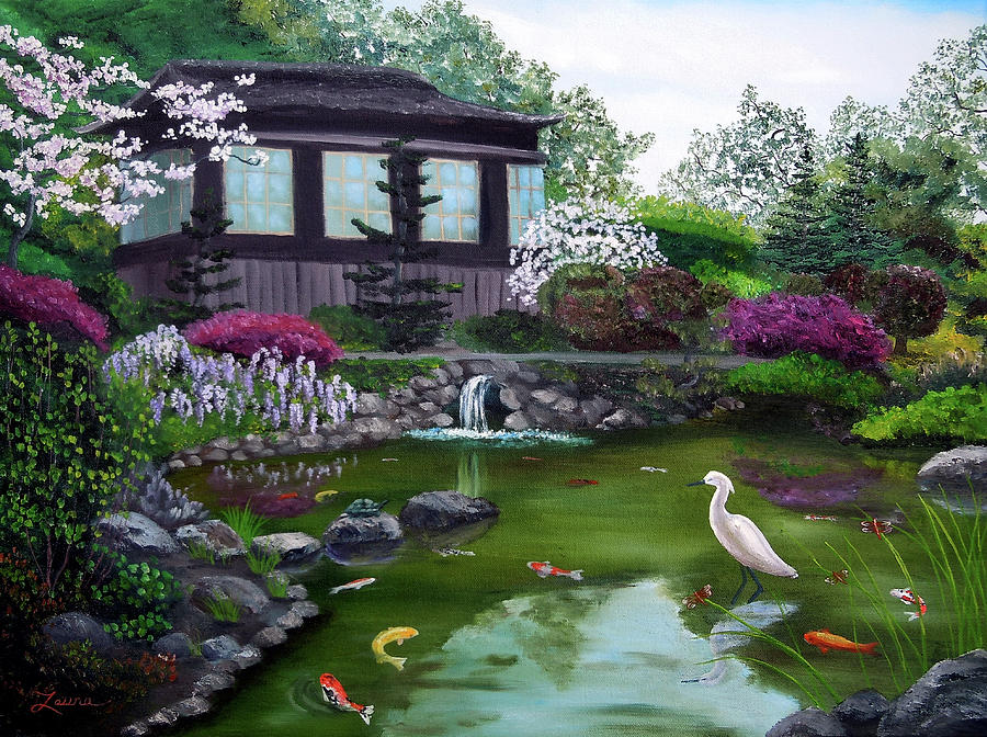 Teahouse Painting   Hakone Gardens Pond In The Spring By Laura Iverson