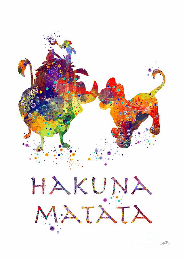 Hakuna Matata Watercolor Art Print Digital Art by White Lotus