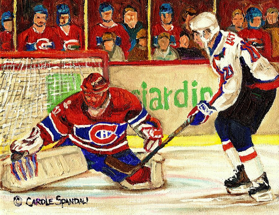 Hockey Painting - Halak Makes Another Save by Carole Spandau