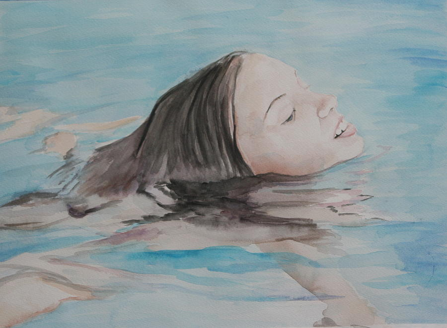Girl Painting - Haley In The Pool by Charlotte Yealey
