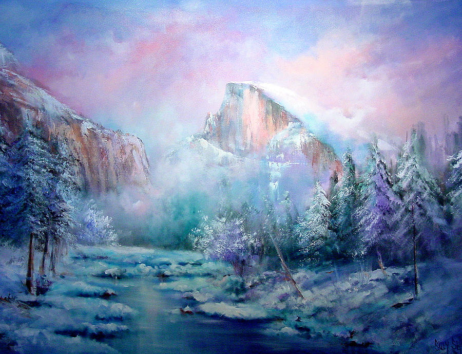 Snow Painting - Half Dome Snow by Sally Seago