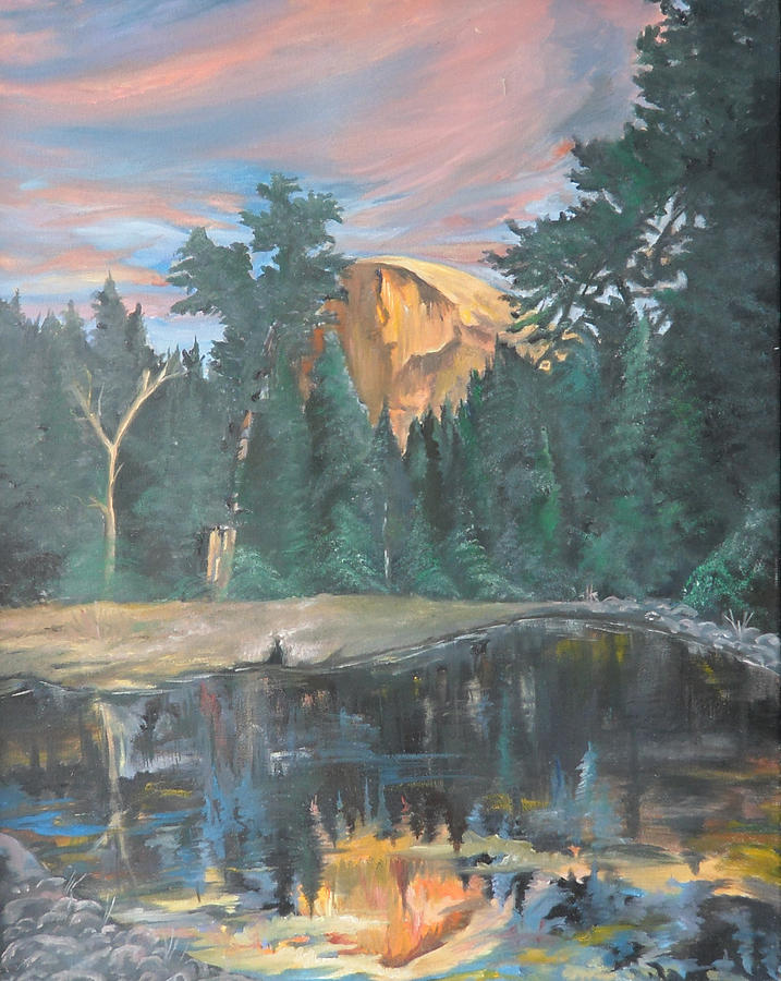 Sunset Painting - Half Dome Sunset by Travis Day