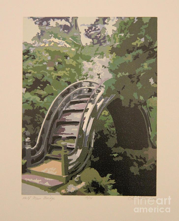 Bridge Painting - Half Moon Bridge by Lori Hafner