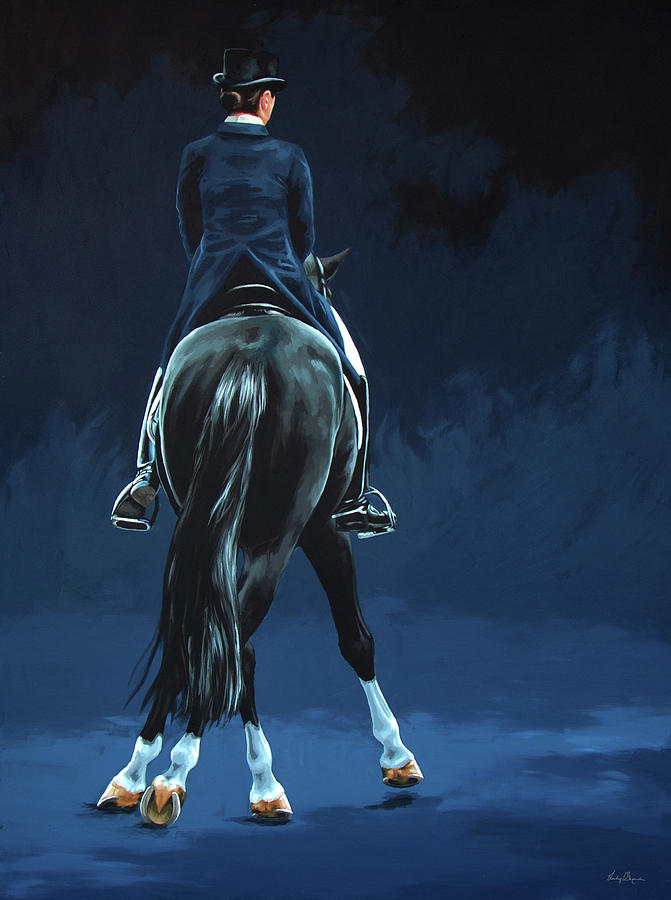 Horse Painting - Half Pass Midnight by Lesley Alexander