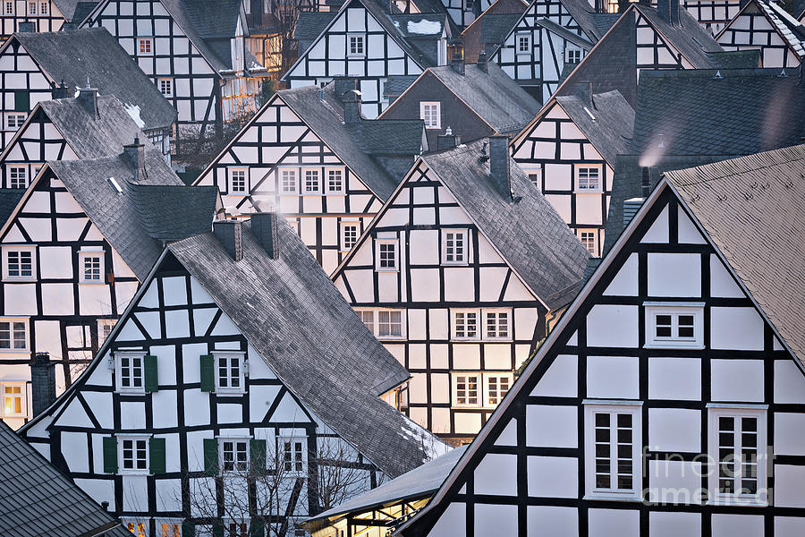 Half-timbered Photograph - Half-timbered houses in detail in Germany by IPics Photography