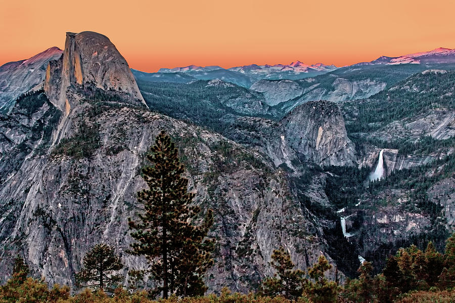 California Photograph - Halfdome And The Waterfalls At Sunset by Dan Carmichael