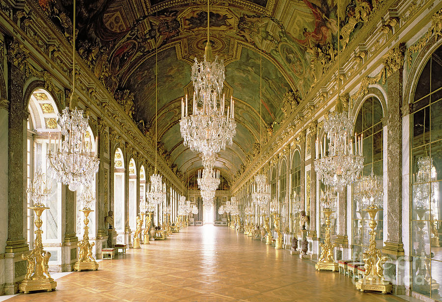 Chandeliers Photograph - Hall Of Mirrors  The Galerie Des Glaces by Jules Hardouin Mansart