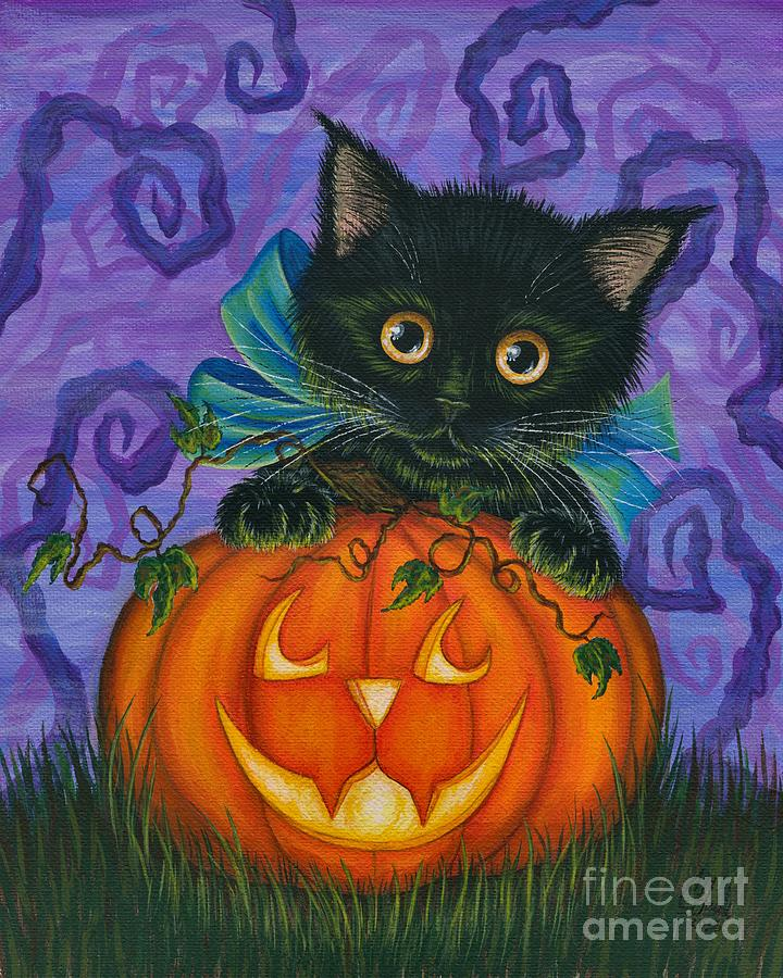 Halloween Black Kitty - Cat and Jackolantern by Carrie Hawks