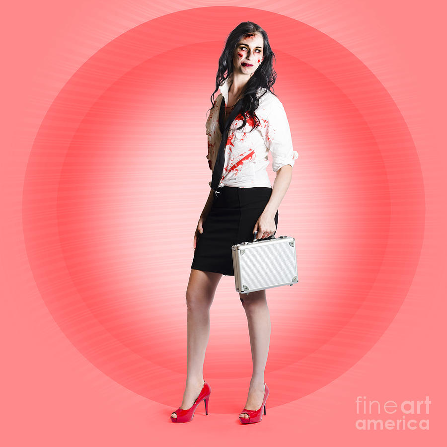 Apocalypse Photograph - Halloween Business Girl With Dead End Job by Jorgo Photography - Wall Art Gallery