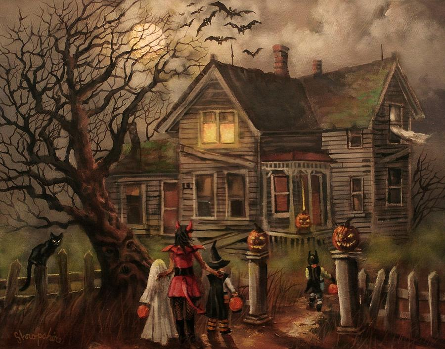 Bats Painting - Halloween Dare by Tom Shropshire