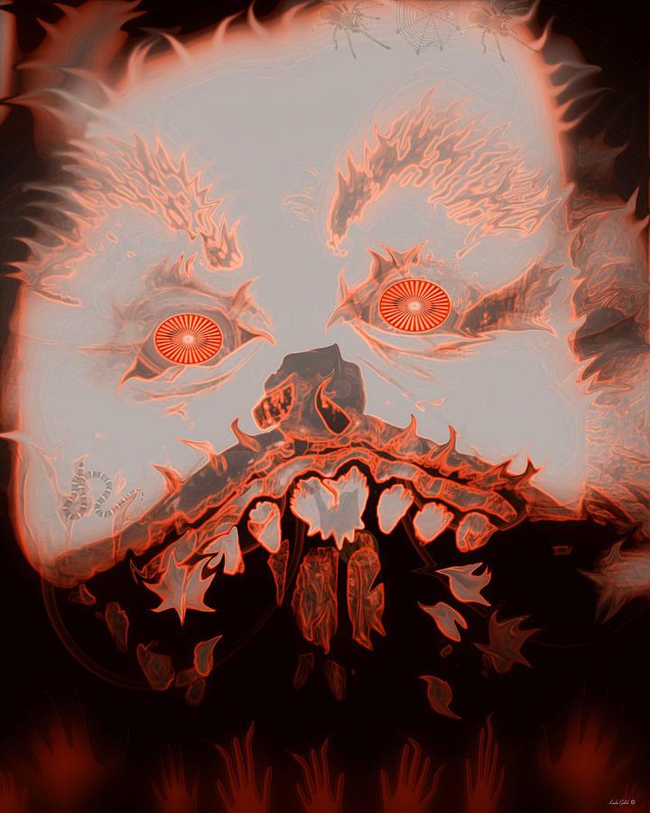 Black Digital Art - Halloween Devil by Linda Galok